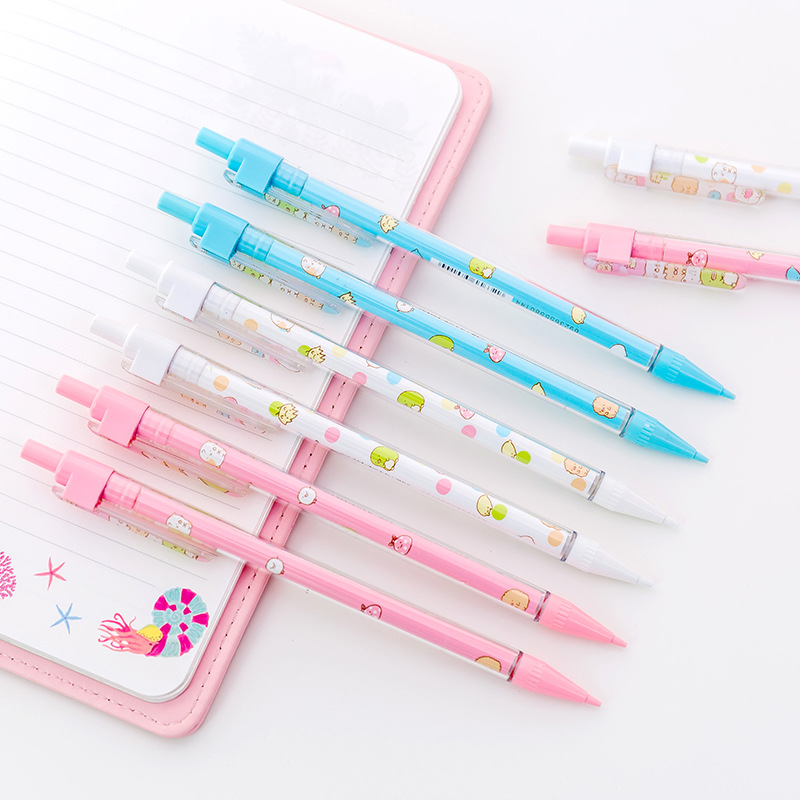 3 pcs/lot Sumikko Gurashi Cartoon Plastic Mechanical Pencil Automatic Pen For Kid School Office Supply kawaii kitty melody twin star sumikko gurashi gudetama canvas big capacity pencil pen bag