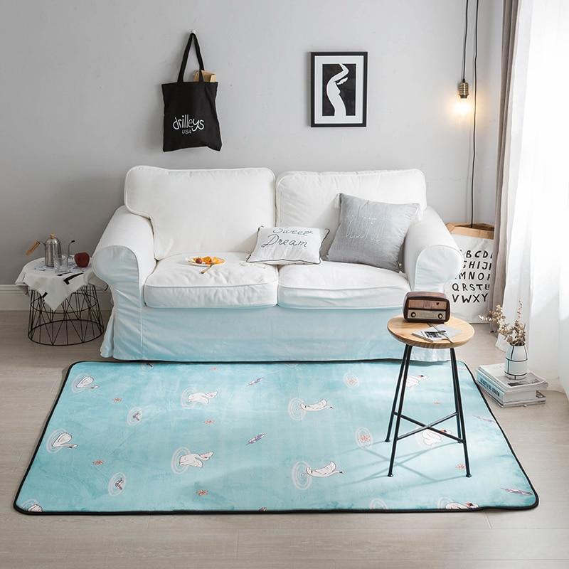 Blue Nordic style swan Fleece Doormat For Living Room Polyester Anti-slip Floor Mat Bathroom Bedroom Home Decor Carpet and Rugs
