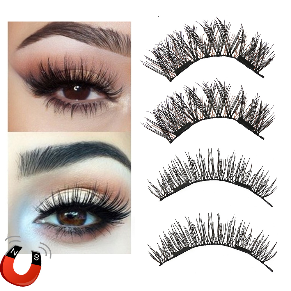 1 Pair Dual Magnetic False Eyelashes Thick Long Magnet Eyelashes Reusable Glue-free Wispy Silk Fiber Lashes Extension Makeup