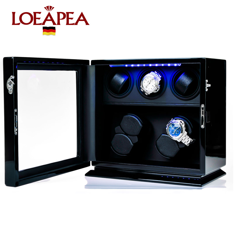 цена Wooden Watch Winder 7 Automatic watch chain winder TPD 9 mode with LED light and JAPAN mabuchi motor watch storage box