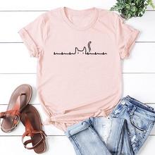 2QIMU 2019 Funny Print Summer Top Tees 100% Cotton Casual Fashion T-shirt Women Short Sleeve Streetwear