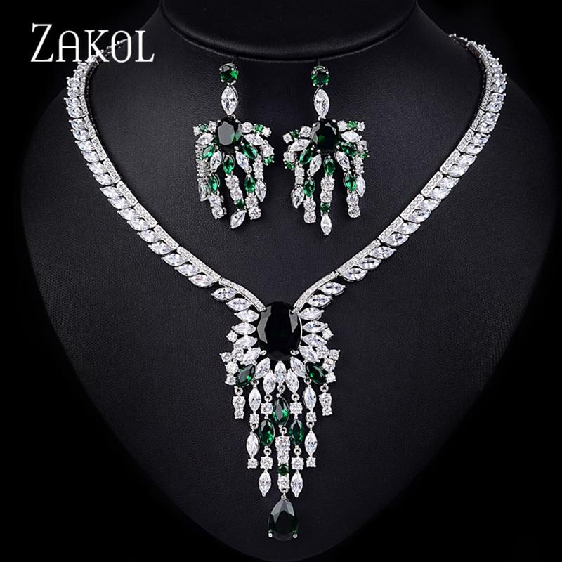 цена на ZAKOL Luxury Bridal Wedding Jewelry Sets Vintage AAA Big Cubic Zircon Flower Necklace Earrings Set For Women Dress FSSP141