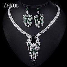 ZAKOL Luxury Bridal Wedding Jewelry Sets Vintage AAA Big Cubic Zircon Flower Necklace Earrings Set For Women Dress FSSP141