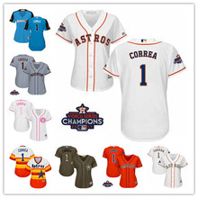 MLB Women s Houston Astros 1 Carlos Correa White 2018 Gold Cool Base Player  Jersey 6cfa085d0