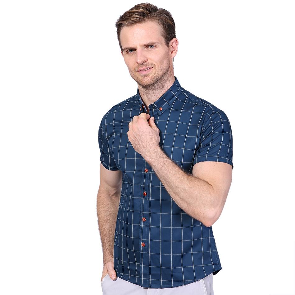 Новинка мужские Рубашки повседневные брендовые приталенные дизайнерские клетчатые рубашки с коротким рукавом мужские s одежда тренд социальные мужские s офисные рубашки 5XL