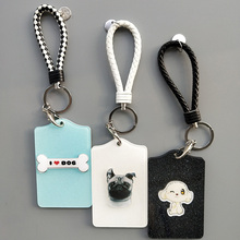 2019 New Creative Shiny Acrylic Lovely Pet Dog Pattern Keychain Card Holder ID Badge Case Student Nurse Bank Credit Holders