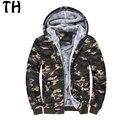 Forro De Lã grossa Térmica Inverno Quente Jacket Men Casacos Com Capuz Zipper Fino Camuflagem Casaul Casacos jaqueta masculina #161630