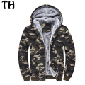 Thick Wool Liner Thermal Warm Winter Jacket Men Outerwear Hooded Zipper Slim Camouflage Casaul Coats jaqueta masculina #161630