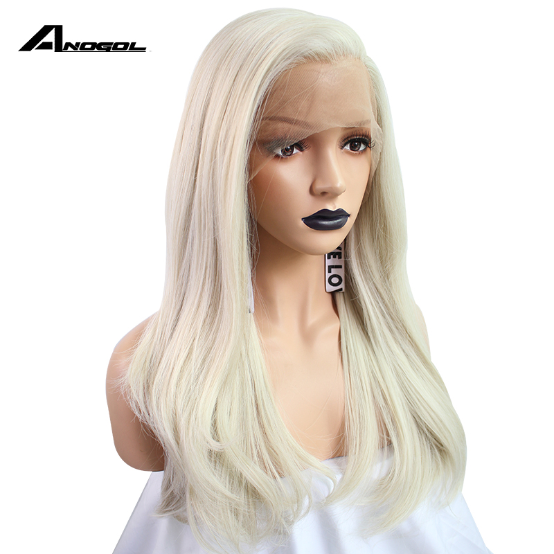 Anogol Long Natural Straight White Blonde Hair Wigs High Temperature Fiber Free Part Synthetic Lace Front
