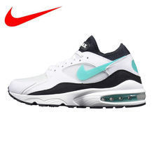 0930e202 Nike Air Max 93 Мужская и женская обувь для бега, амортизация легкая  дышащая Нескользящая, зеленый и белый 306551 107