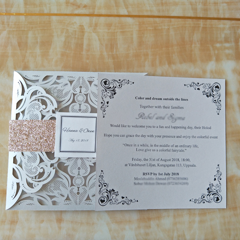 Free Personalized Printing Wedding Invitation Cards Laser