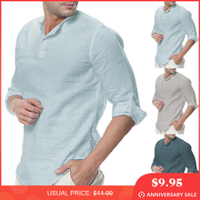 8669d53cf024 Plain Tee 5XL Men Casual Shirts Long Sleeve Henley Collar V Neck Basic  Color Loose Fit