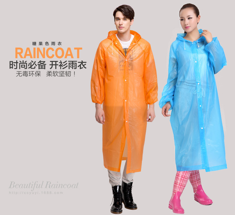 2017 new PEVA ultra light backpack outdoor windproof cuff elastic collar cap rope thickened disposable raincoat riding raincoat