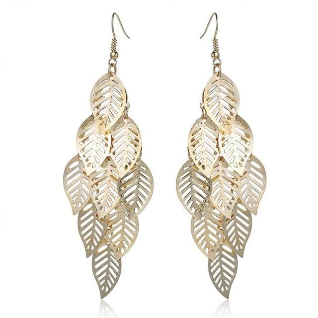 Korean Earrings Gold Jewelry Gift Hollow Leaves Tel Vintage Women Drop Leaf Dangle