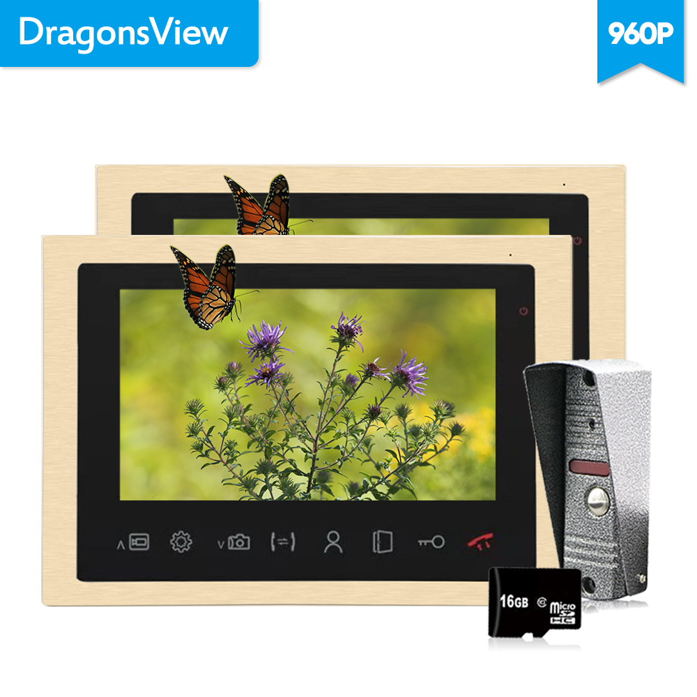 Dragonsview Wired 960P 10 Inch Video Intercom Doorbell Record Intercoms for Private Homes Entry Phone System  2 Monitors MotionDragonsview Wired 960P 10 Inch Video Intercom Doorbell Record Intercoms for Private Homes Entry Phone System  2 Monitors Motion