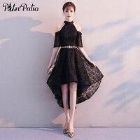 High Low Black Cocktail Dresses 2019 Plus Size Sexy Halter Off The Shoulder Lace Women Semi Formal Dresses