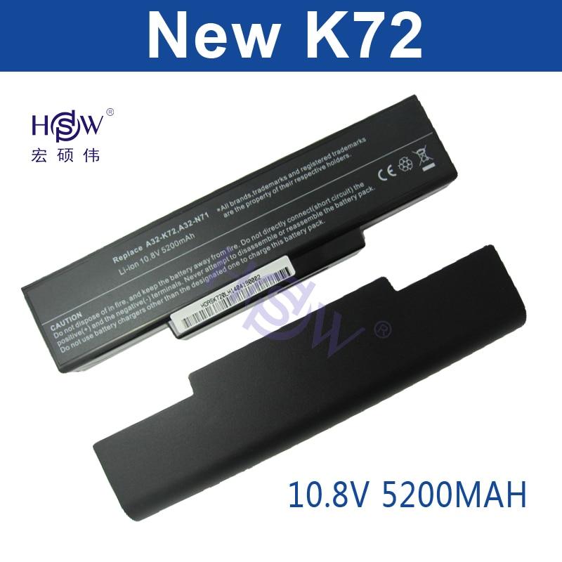 HSW 5200MAH laptop battery for Asus A32-K72 A32-N71 K72DR K72 K72D K72F K72JR K73 K73SV K73S K73E N73SV X77X77VN k72-100 bateria