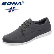 BONA yeni klasik tarzı erkekler rahat ayakkabılar tuval erkek günlük ayakkabı Lace Up erkekler moda Sneakers ayakkabı rahat ücretsiz kargo
