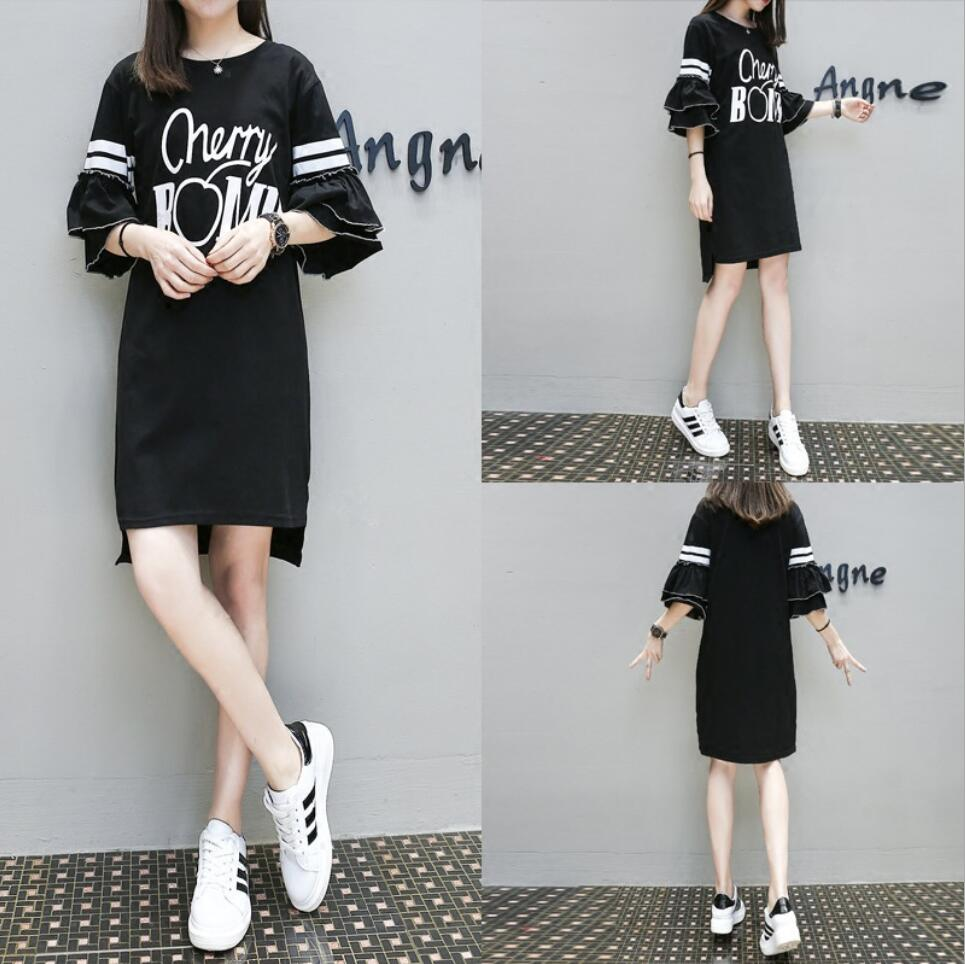 Buy Black White Letter Striped Printing Dress O-neck Ruffle Half Sleeves Elbise 2017 New Fashion Plus Size XL-5XL Vestidos D94 for $27.99 in AliExpress store