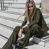 HIGH QUALITY Newest 2017 Designer Suit Set Women S Green Blazer Pants Suit Set