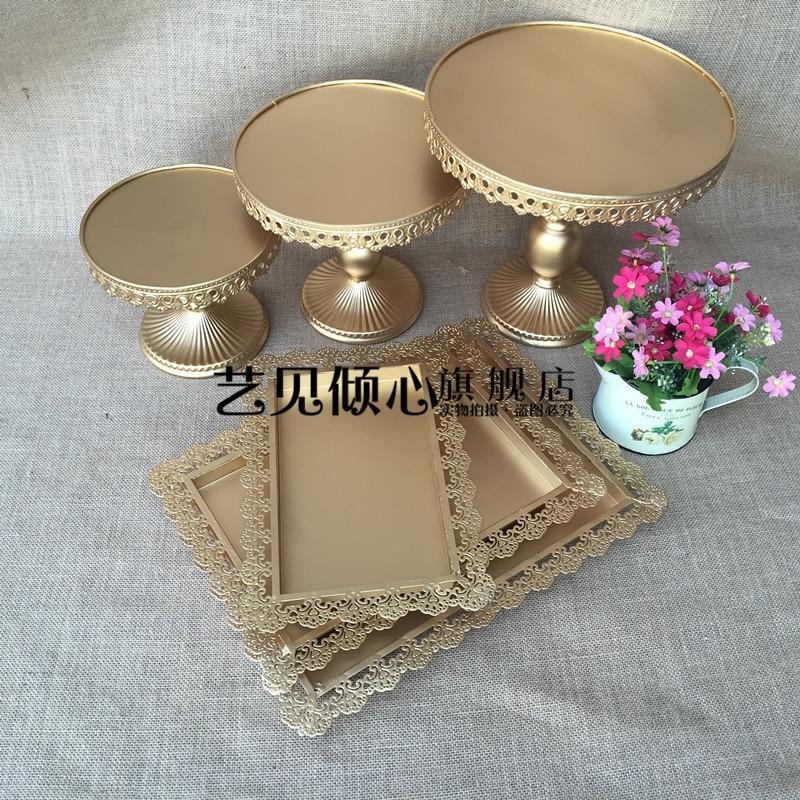 Shiny Gold Wedding Dessert Tray Cake Stand Cupcake Tray