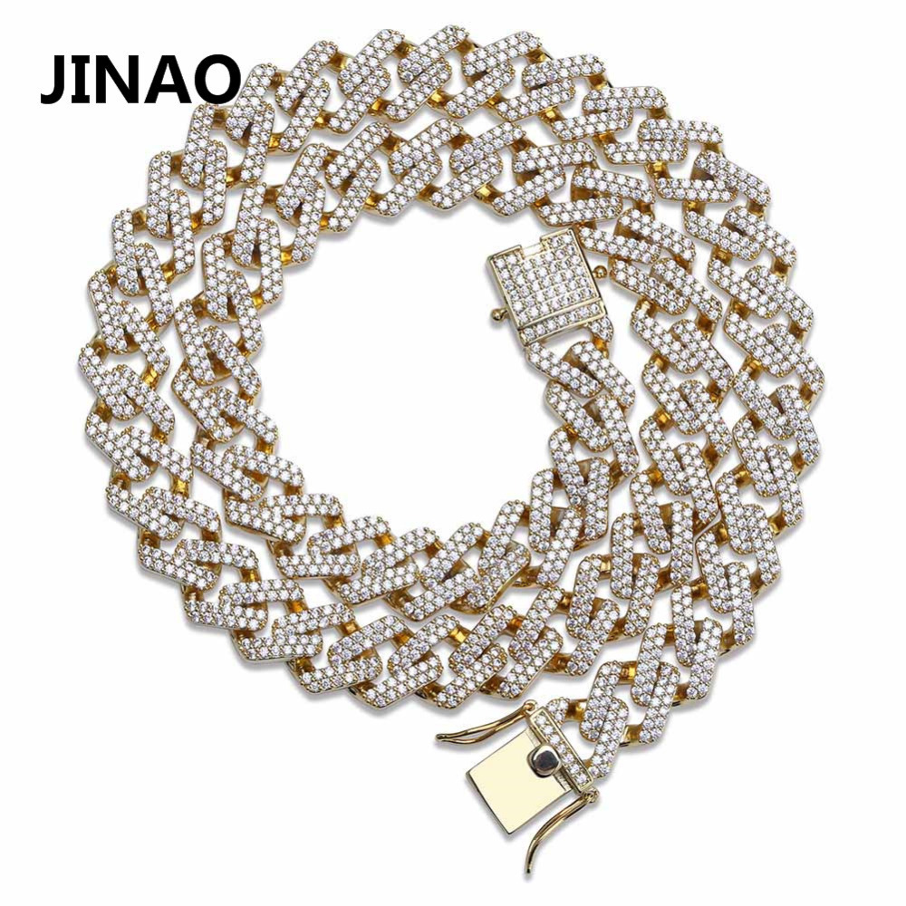 JINAO Hip Hop Jewelry Cuban Chain Iced Out Chain Bling Cubic Zircon Necklace Micro Pave Link