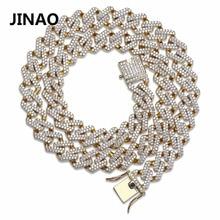 JINAO хип-хоп кубинской Iced Out Bling кубический циркон цепи Цепочки и ожерелья Модные украшения микро проложить цепочка в виде колечек, оригинальная Цепочки и ожерелья