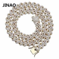 JINAO Hip Hop Sieraden Cubaanse Ketting Iced Out Chain Bling Kubieke Zirkoon Ketting Micro Pave Link Chain Verklaring Ketting Twee sluiting