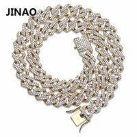 Jinao для хип-хопа Jewelry кубинской Iced Out сеть Bling циркониевое ожерелье кубической формы микро проложить цепочка в виде колечек, оригинальная Цеп...