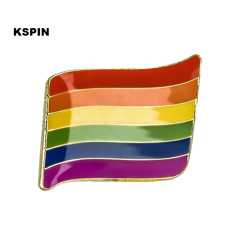 Ev ve Bahçe'ten Rozetler'de Eşcinsel Gurur Gökkuşağı bayrak yaka iğnesi rozet pin 100 adet çok Broş Simgeler XY0056'da  Grup 1