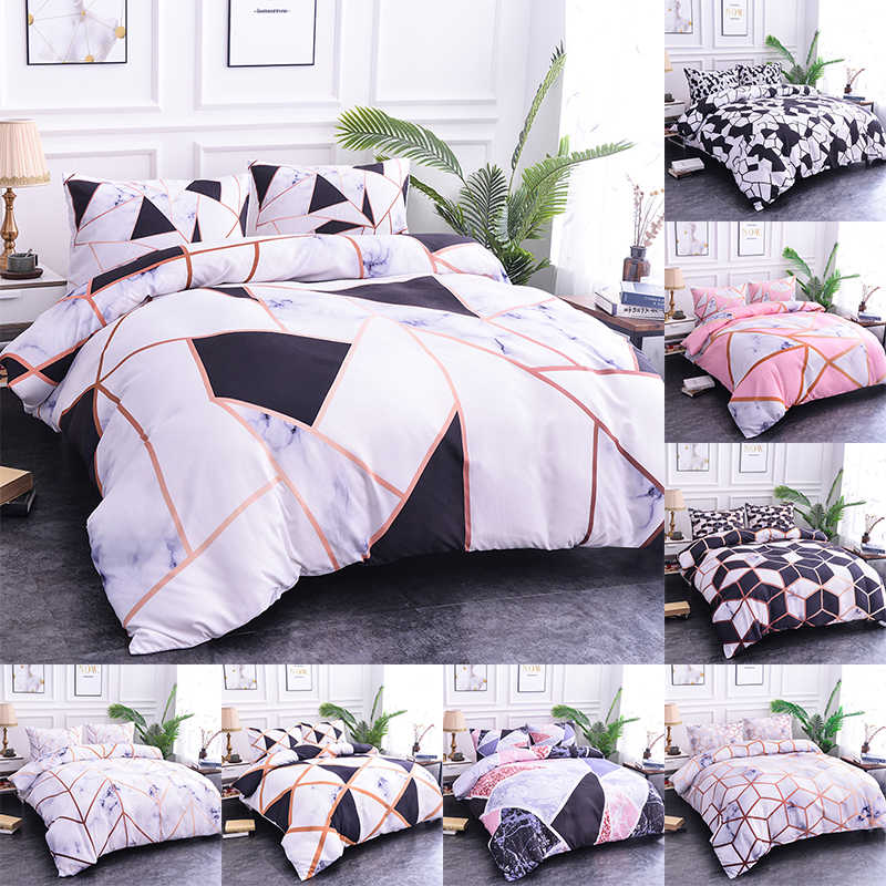 Boniu Bedroom Decor Geometric Bedding Set Marble Print Blocks Cube Black White Pink Duvet Cover Set 3pcs Fashion Bedspread Queen