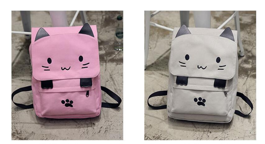 Cute Cat Canvas Backpack Cartoon Embroidery Backpacks For Teenage Girls School Bag Casual Black Printing Rucksack