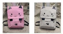 Милый Кот холст рюкзак мультфильм вышивка рюкзаки для девочек-подростков повседневная школьная сумка черно-белой печати рюкзак
