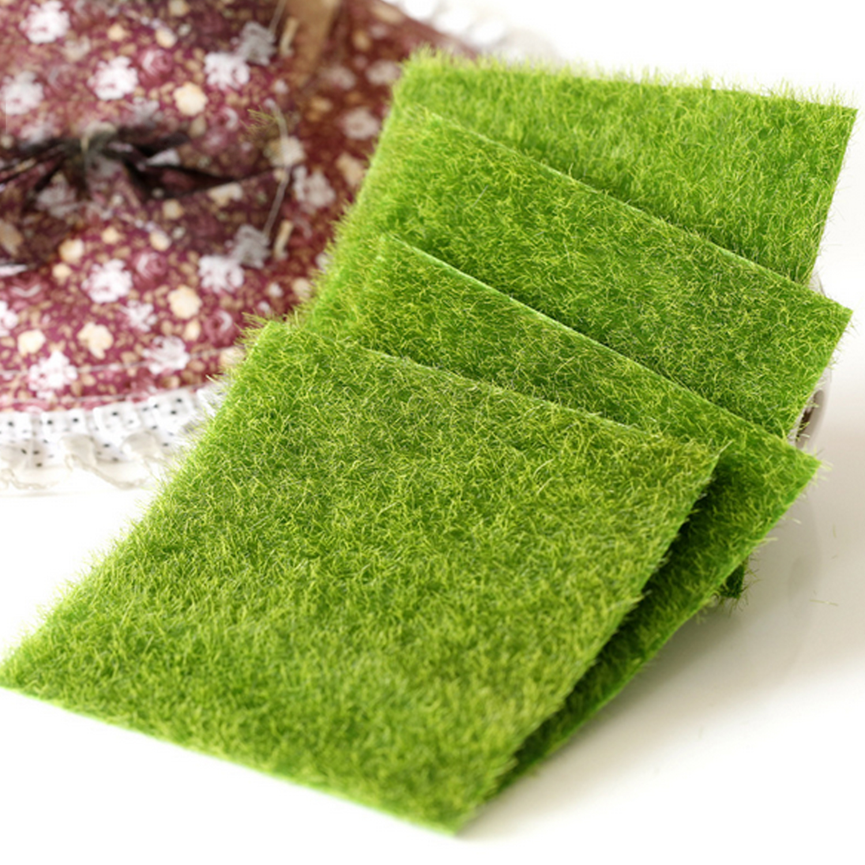 Kids 2pcs DIY Plastic Simulation Mini Bryophyte Grass Lawn Moss Model Micro Landscape Scenery Building Accessories Toy