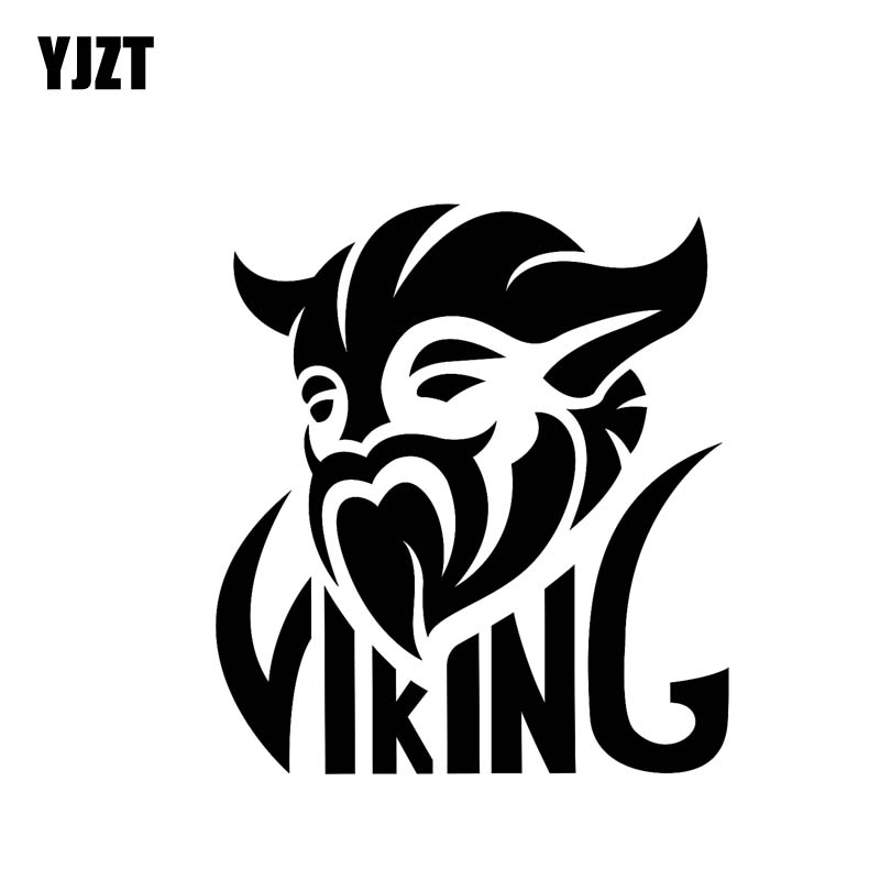 YJZT 11*12CM Strong Viking Brave Serious Soldier Warrior Covering The Body Car Sticker Decal Black/Silver Vinyl C20-1797
