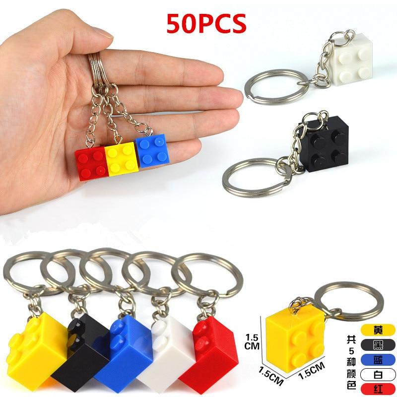 50PCSset Key Chain Blocks Heart Blocks Toy Brick Building Blocks Accessories Keychain Block Model Kits Set DIY Toys for Kids (7)