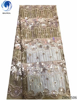 BEAUTIFICAL Golden sequin lace fabric embroidery Ghana lace fabric high quality glitter lace fabric 5 yarsd/lot ZXN75