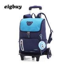 Grade 2-6 Kids Trolley School Bag Luggage Boys Girls Backpack Latest Removable Children Backpacks School Bags 2/6 Wheels Stairs недорого