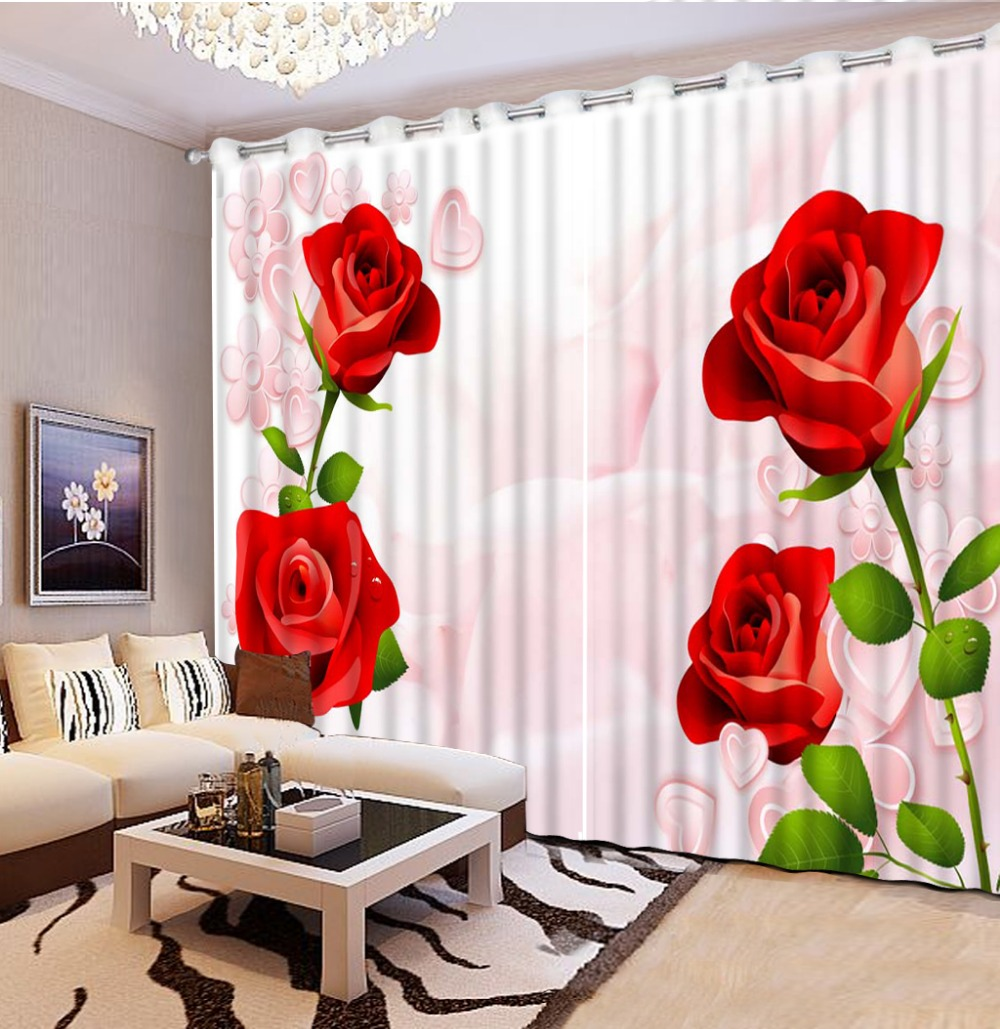 Living room curtains red - High Quality Customize Size Modern Beautiful Window Curtains Red Rose Flower Window Curtains Style