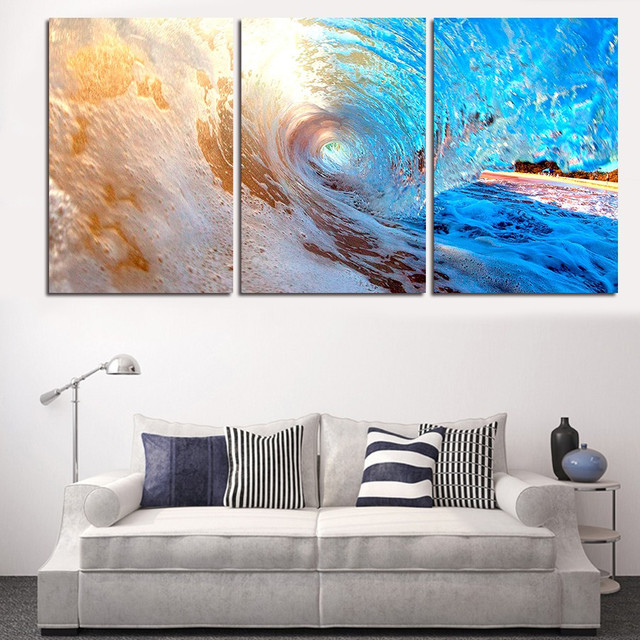 3Pcs Unframed Modern Wall Painting Home Decor Ocean Surface Wave Sea  Landscape Canvas Living Room Picture Part 17