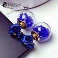 2016 New Fashion Zircon Crystal Flower Blue Earring For Piercing Double Sided Glass Ball Stud Earring Women Jewelry Multicolors