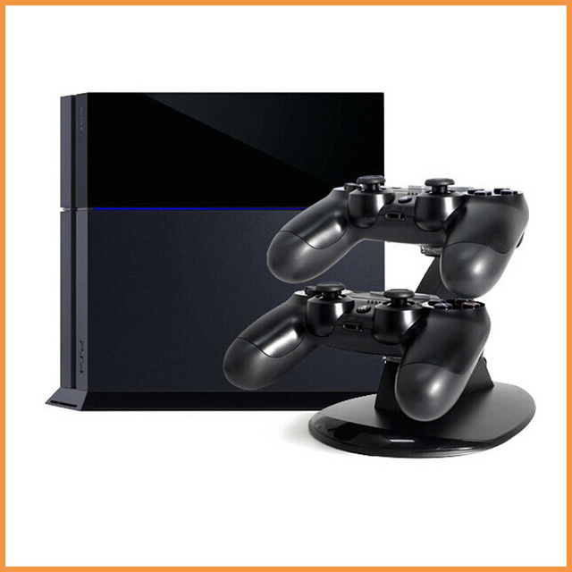 Dual Charger with USB LED Dock Station Charging Stand for Playstation 4 for PS4 Controller Black
