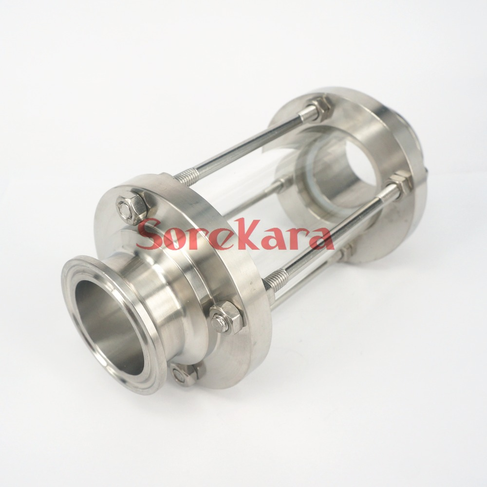1.5 Tri Clamp Clover Sanitay Flow Sight Glass Diopter Fit 38mm Pipe OD SUS 304 Stainless Steel Fitting Homebrew Diary Product