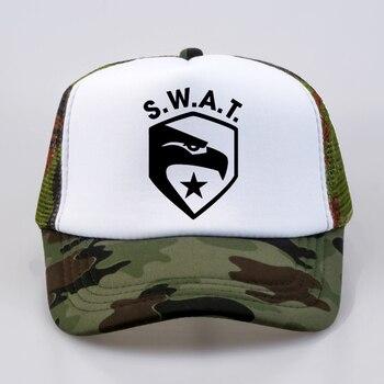 SWAT Baseball Caps summer Men Women  Fashion cap Letters Cool Mesh Net Trucker Cap Dad Hat