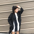 Autumn Brief Women Long Trench Coat Hooded Letter Loose Hong Windhind Coats Army Green White Black 9860
