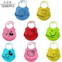 New 2016 Baby Bibs Mom Baby Care Cartoon Minnie Mouse Pooh Bear Hello Kitty Silicone Bib Baberos Bandana Newborn Waterproof
