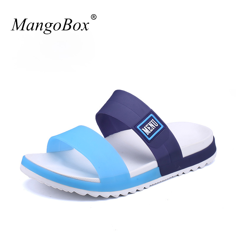 Flat Sandals For Men Cheap Rubber Beach Shoes Blue Orange Beach - Men's Shoes