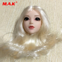 1/6 Scale Female Head Sculpt Girl Red Scarf Silver Hair Headplay Model Movable Eyes for 12 inches Action Figures
