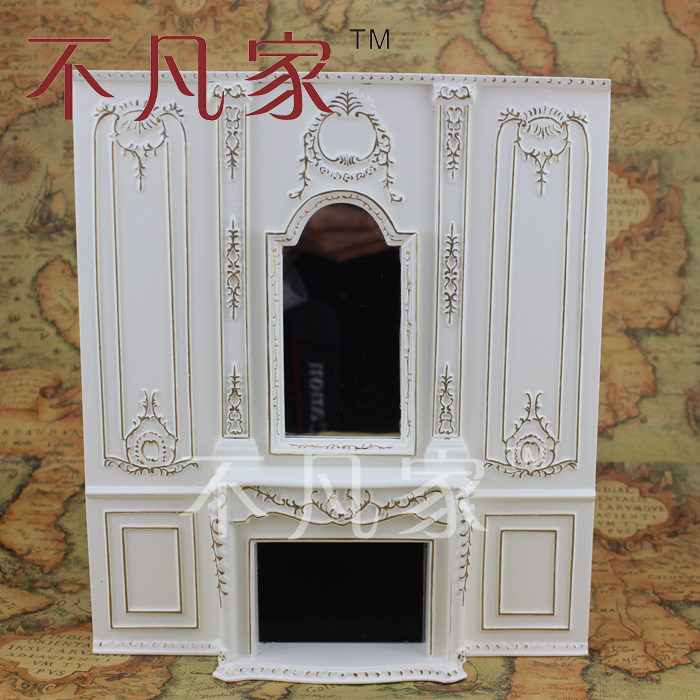 ФОТО 1/12 scale dollhouse mini furniture golden manual painting overall fireplace