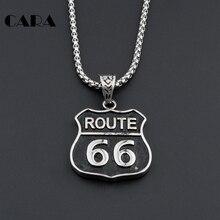 Men Route 66 Charm Pendant Us Highway Legend Biker Road 316L Stainless steel Hip Hop Necklace antique Necklace jewelry CAGF0036